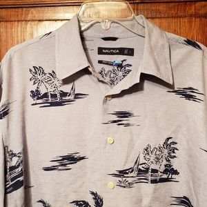 Nautica Palm Tree Aloha Silk Shirt sz Large